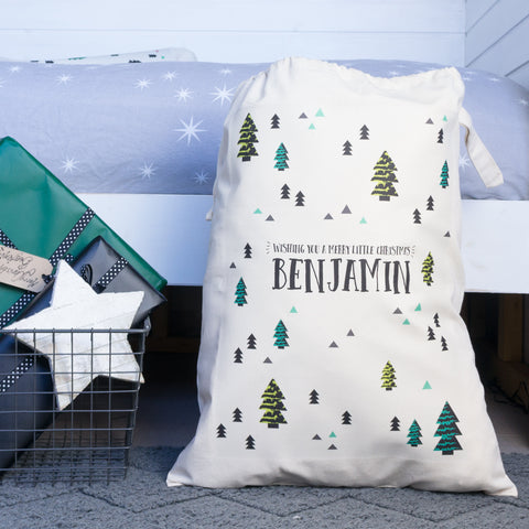 Personalised Scandinavian Print Christmas Sack - Green