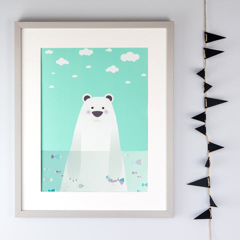 Polar Bear Illustration Children's Print