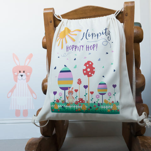 Easter Hippity Hoppity Canvas Drawstring Gym Sack