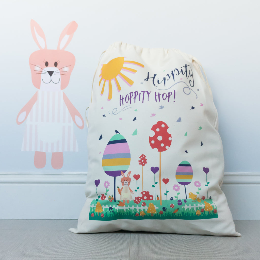 Personalised gift bags and sacks snuggledust studios easter hippity hoppity gift sack negle Gallery