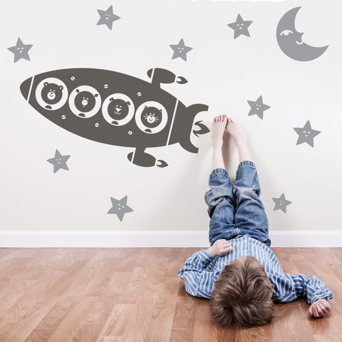 Animal Space Rocket Trip Wall Stickers