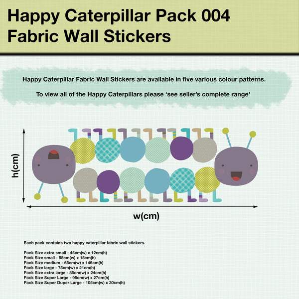 Happy Caterpillar Fabric Wall Sticker Pack 04