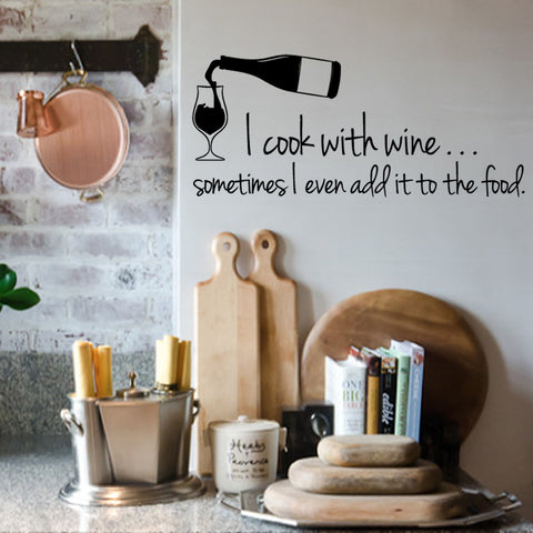 'I Cook With Wine' Wall Sticker