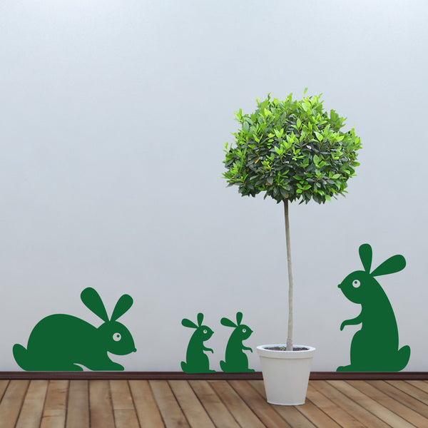 Woodland Rabbit Family Wall Sticker Decal