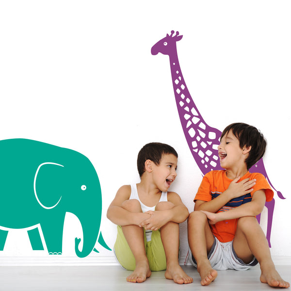 Giraffe And Elephant Safari Wall Stickers