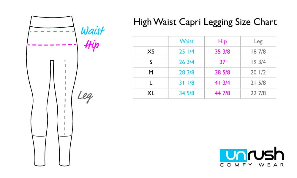 High Waisted Capri Leggings Size Chart
