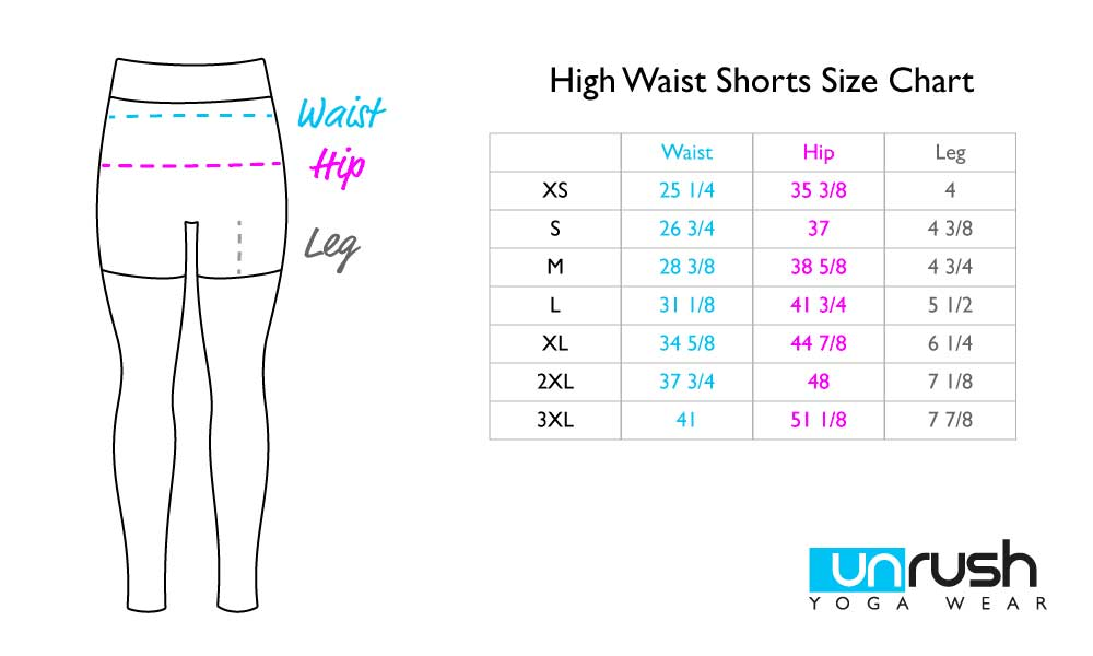 High Waist Shorts Size Chart