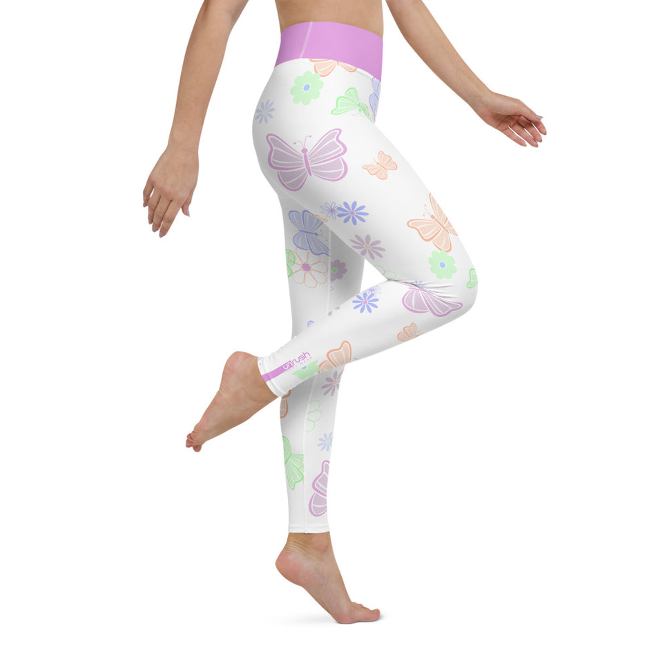 Vanessa Butterfly, White & Soft Purple Waistband, High Waist Leggings