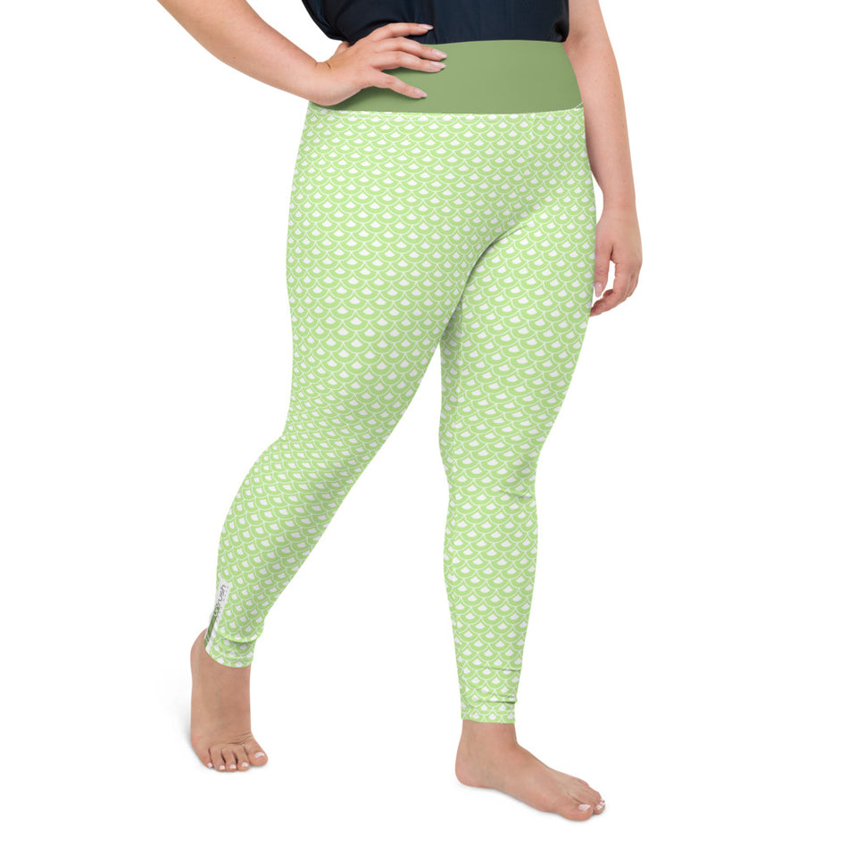 "Curvy Style Leggings "" Green Fish Scale Pattern "" - Unrush"