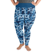 "Curvy Style Leggings Blue ""Camouflage"" - Unrush"