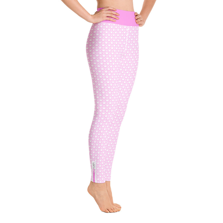 "High Waist Legging ""Pink Fish Scale Pattern"" - Unrush"