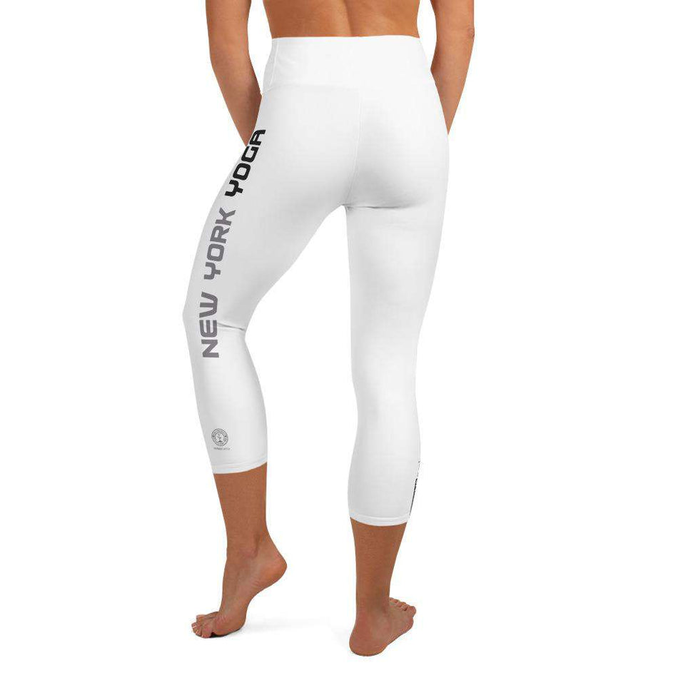 "High Waist Capri Leggings, Unrush Basic, ""New York Yoga"" White - Unrush"