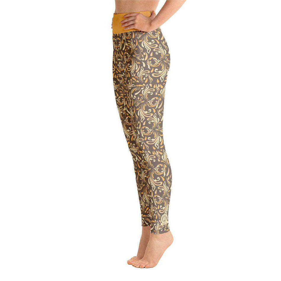 "Yoga Legging, Brown ""Flowers"" - Unrush"