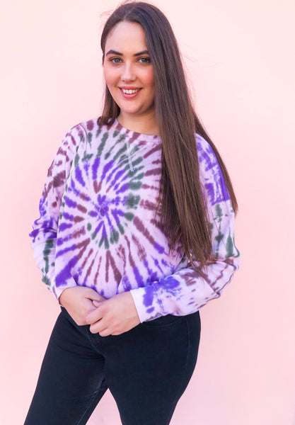 So Fetch Tie Dye Waffle Knit Sweater