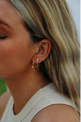 Josie Pearl and Diamond Hoop Earrings