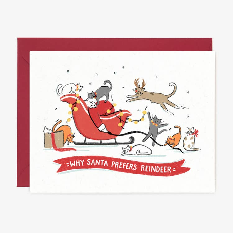 Santa Prefers Reindeer Card