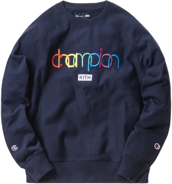 KITH CHAMPION DOUBLE LOGO CREWNECK NAVY - The Edit Man London