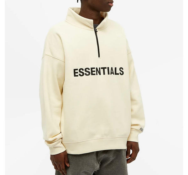 FEAR OF GOD ESSENTIALS HALF ZIP SWEATER BUTTERCREAM - The Edit Man London Online