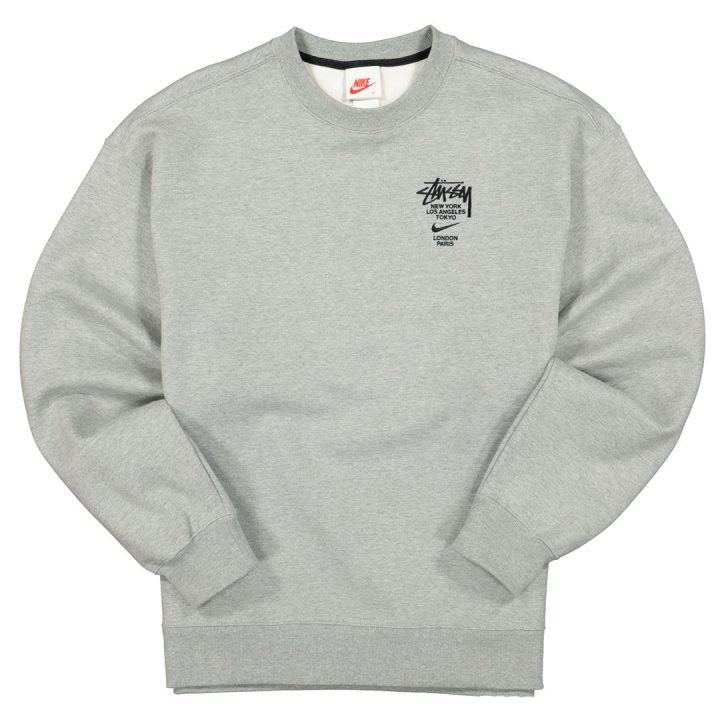 NIKE X STUSSY INTERNATIONAL CREWNECK SWEATSHIRT HEATHER GREY - The Edit Man London Online