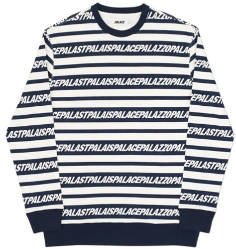 PALACE MULTI LINGUAL CREW NAVY/WHITE - The Edit Man London Online