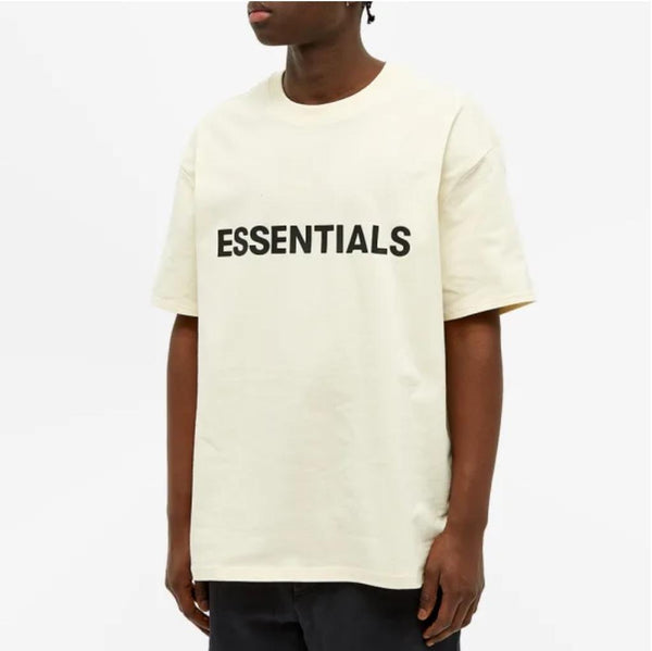FEAR OF GOD ESSENTIALS SILICON BOXY TEE BUTTERCREAM - The Edit Man London Online