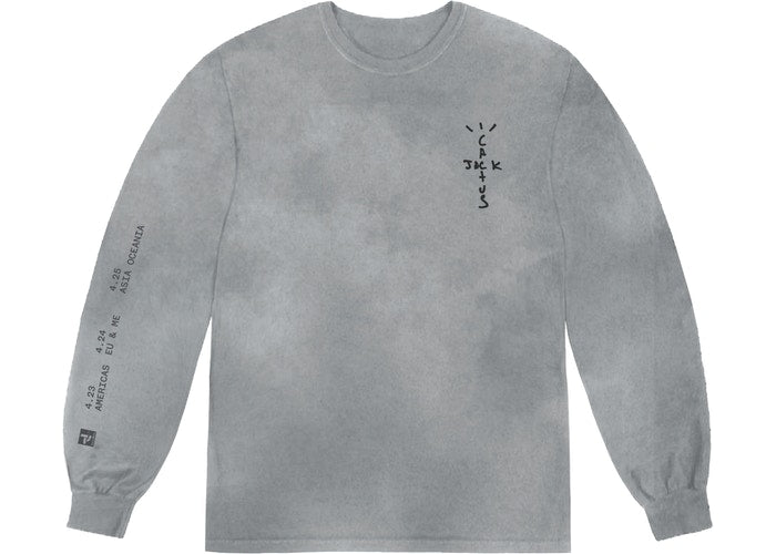 TRAVIS SCOTT BACK BLING L/S TEE WASHED GREY - The Edit Man London Online