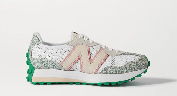 NEW BALANCE x CASABLANCA 327 SUEDE-TRIMMED LOGO JACQUARED AND LEATHER SNEAKER