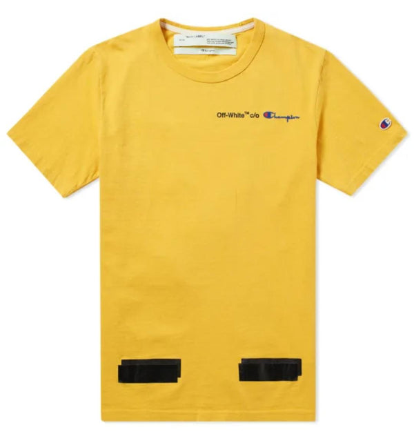 OFF WHITE X CHAMPION TEE YELLOW AND BLACK - The Edit Man London Online
