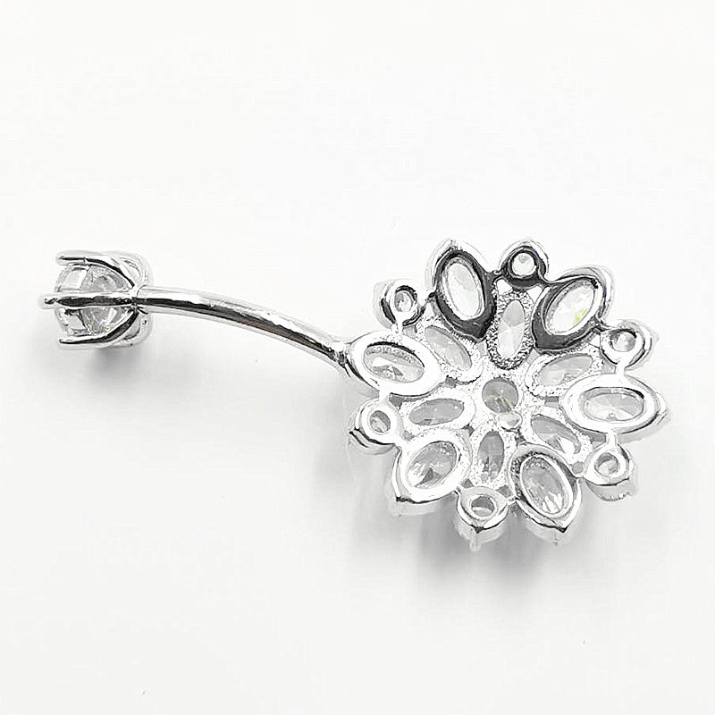 Arardo 14G 925 Sterling Silver Flower CZ Belly Button Rings Navel Rings Piercing Jewelry AB0085