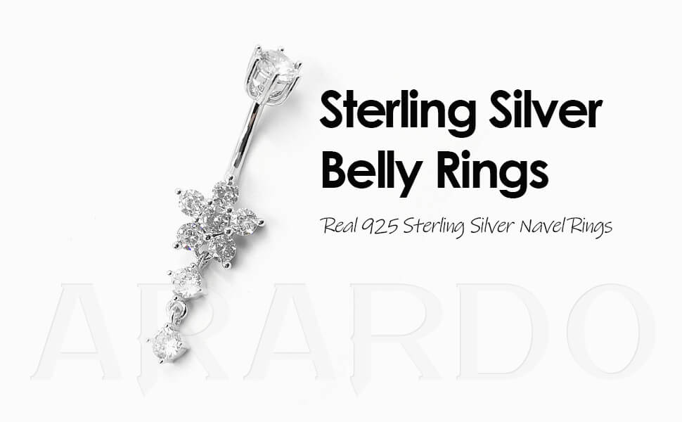 Arardo 925 Sterling Silver Dangle Belly Button Rings AB0099
