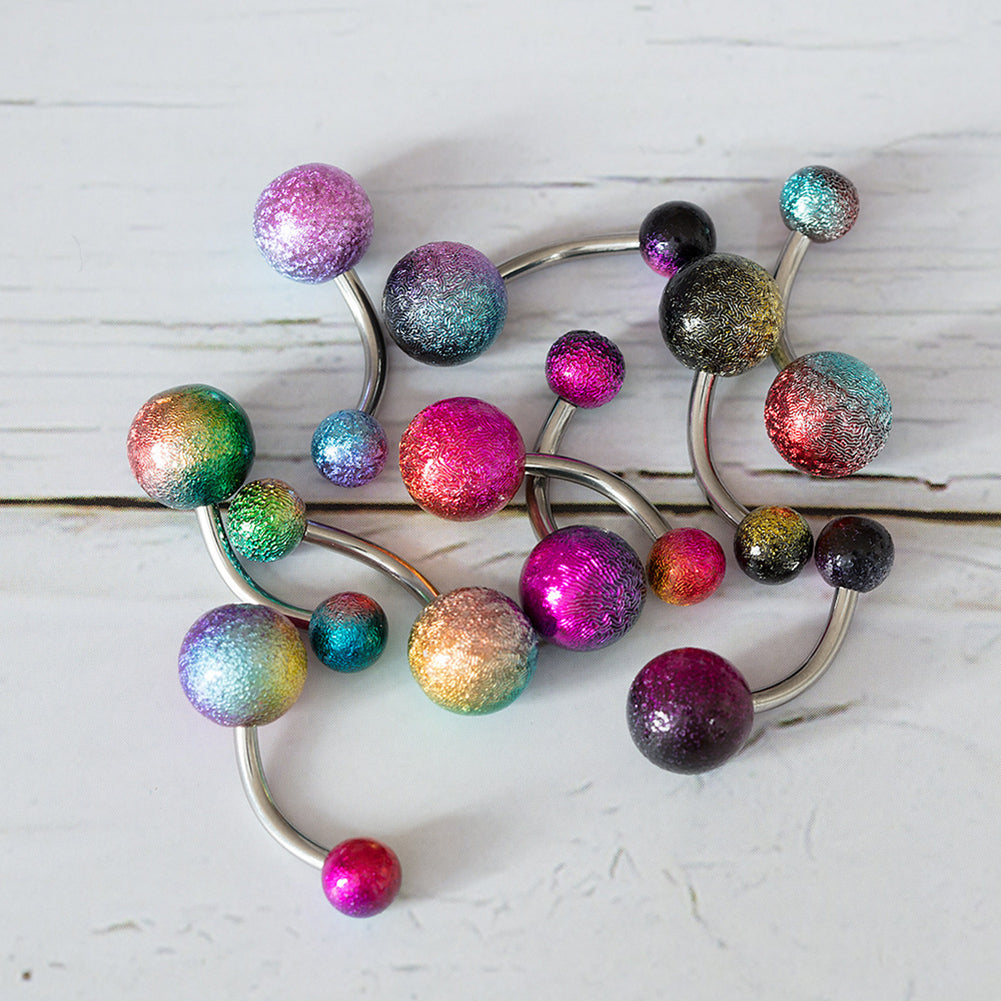 Rainbow Belly Button Rings Set