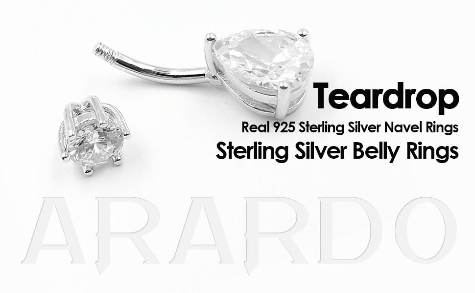 Arardo 925 Sterling Silver Belly Button Rings SS2