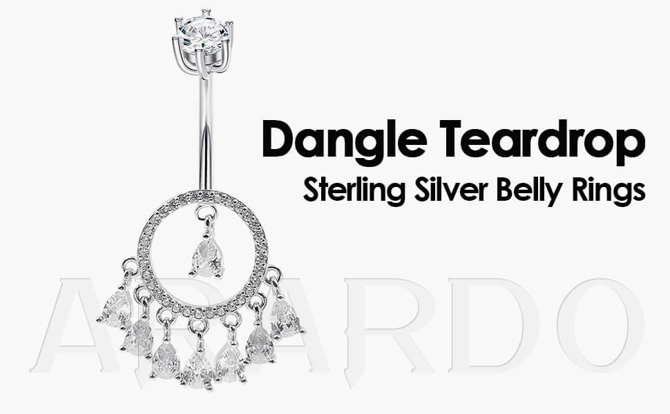 Arardo 925 Dangle Sterling Silver Belly Button Rings SS6