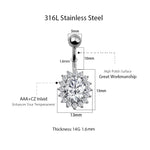 Load image into Gallery viewer, Arardo 2Pcs 14G Belly Button Rings Navel Rings 316L Stainless Steel Creative Design CZ Studs Belly Piercing Body Jewelry