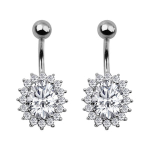 Arardo 2Pcs 14G Belly Button Rings Navel Rings 316L Stainless Steel Creative Design CZ Studs Belly Piercing Body Jewelry
