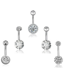 Arardo 5Pcs 14G 316L Stainless Steel Belly Button Rings Curved Barbell Crystal CZ Ball Screw Navel Bars Navel Rings Body Piercing Jewelry