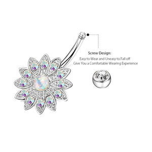Arardo 3Pcs 14G 316L Stainless Steel Belly Button Rings Screw Design Dangle Flower Opal CZ Navel Rings Body Piercing Jewelry