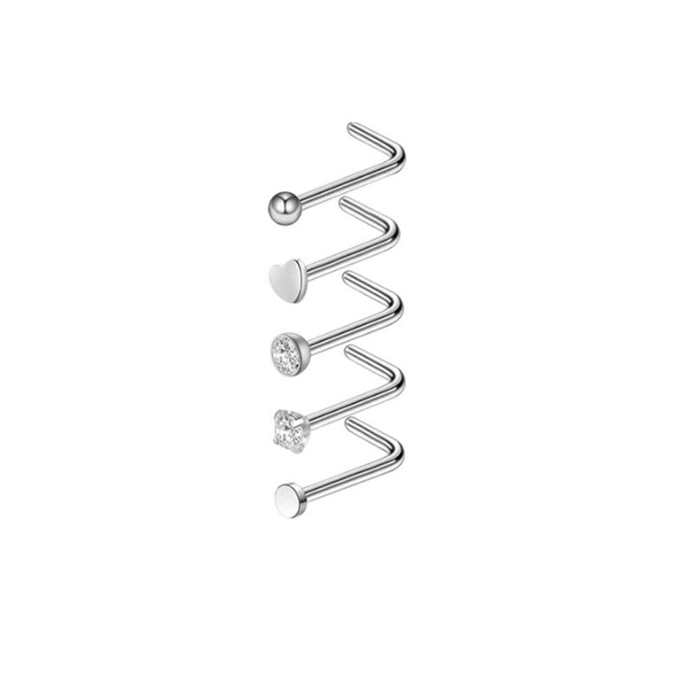 Arardo 5Pcs 20G 316L Stainless Steel CZ Nose Rings Studs Nose Piercing Jewelry