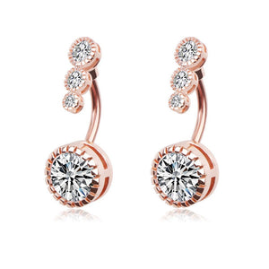 Arardo 2Pcs 14G 316L Stainless Steel Belly Button Rings Curved Barbell Crystal CZ Navel Rings Body Piercing Jewelry