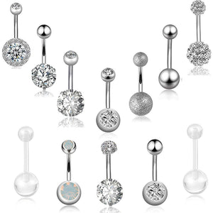 Arardo 12Pcs 14G 316L Stainless Steel Belly Button Rings Navel Rings Curved Barbell Piercing Jewelry