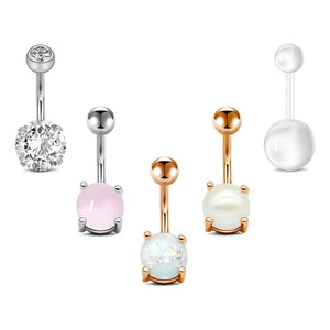 Arardo 5Pcs 14G 316L Stainless Steel CZ Opal Curved Barbell Belly Button Rings Navel Rings Body Piercing Jewelry