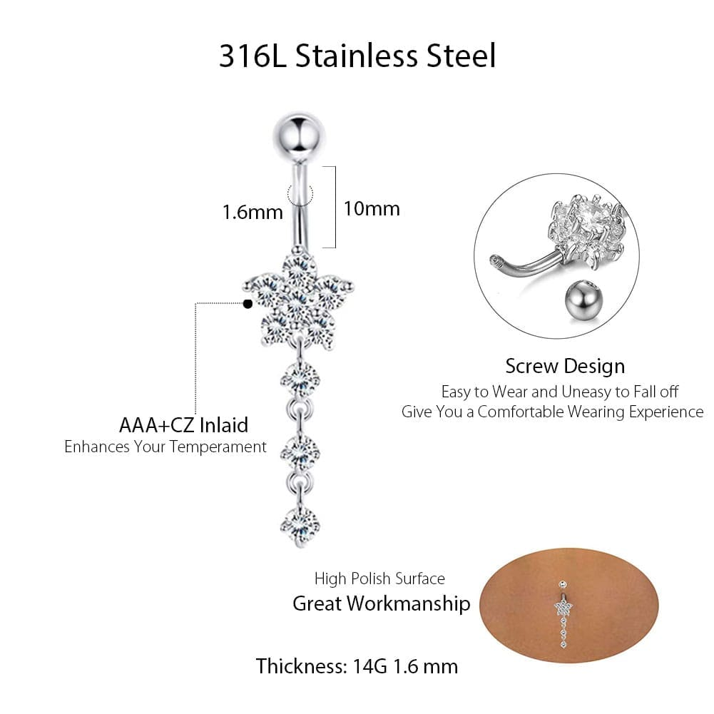 Arardo 12Pcs 14G 316L Stainless Steel Dangle Belly Button Rings Curved Barbell CZ Navel Rings Belly Piercing Jewelry