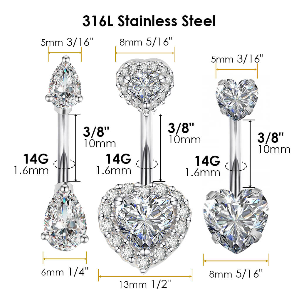 316L Stainless Steel Belly Button Rings Curved Barbell Crystal CZ Navel Rings Body Piercing Jewelry