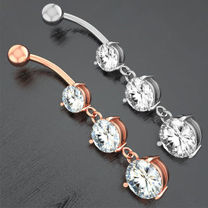 Arardo 2Pcs 14G 316L Stainless Steel CZ Dangle Belly Button Rings Navel Rings Piercing Jewelry AB0038
