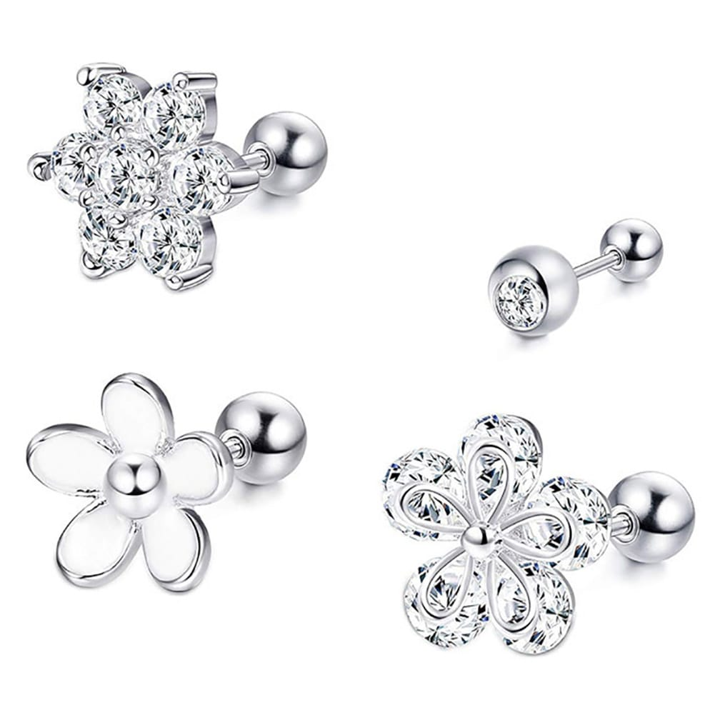 Arardo 4Pcs 16G 316L Stainless Steel Flower Helix Cartilage Tragus Ear Studs Post Ball Earring Piercing
