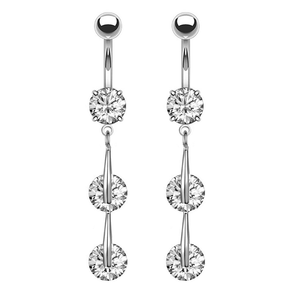 Arardo 2Pcs 14G 316L Stainless Steel CZ Dangle Belly Button Rings Navel Rings Piercing Jewelry AB0042