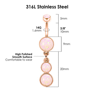 Arardo 2Pcs 14G 316L Stainless Steel Opal Dangle Belly Button Rings Navel Rings Piercing Jewelry AB0043