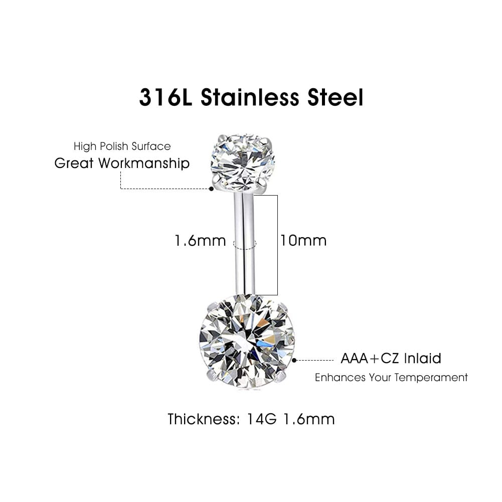 Arardo 2Pcs 14G 316L Stainless Steel Belly Button Rings Curved Barbell Crystal CZ Navel Rings Body Piercing Jewelry AB0059