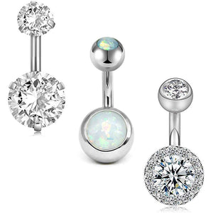 Arardo 3Pcs 14G 316L Stainless Steel Belly Button Rings Curved Barbell Crystal CZ Ball Screw Navel Bars Navel Rings Body Piercing Jewelry AB0064-1