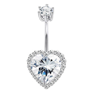 Arardo 14G 925 Sterling Silver CZ Heart Belly Button Rings Navel Rings Piercing Jewelry AB0086-1
